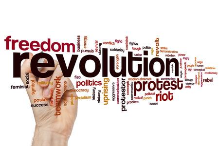 conflictos sociales: Revoluci�n concepto de nube de palabras