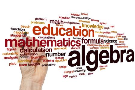 Algebra word cloud concept Foto de archivo