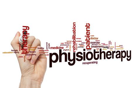 Fysiotherapie woord wolk concept Stockfoto