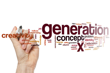 generation x: Generation x word cloud concept Stock Photo