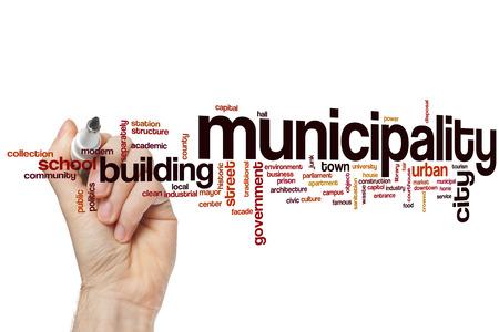 Municipalité notion mot de cloud Banque d'images