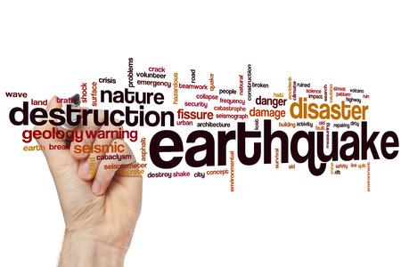 sismográfo: Terremoto concepto de nube de palabras