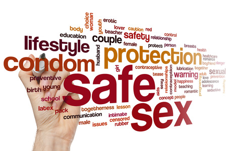 female sex: Safe sex word cloud concept