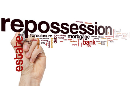 reclaiming: Repossession word cloud concept Stock Photo