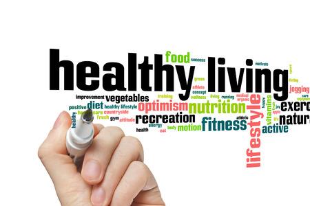 dieta sana: Concepto de vida sana nube de palabras de fondo