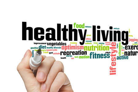 healthy nutrition: Healthy living concept word cloud background Stock Photo
