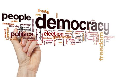 democracia: Concepto de Democracia nube de palabras de fondo
