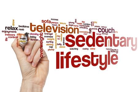 sedentario: Estilo de vida sedentario concepto de nube de palabras