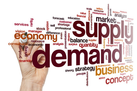 in demand: Supply demand concept word cloud background