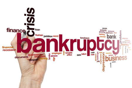 depressed person: Bankruptcy word cloud concept Stock Photo