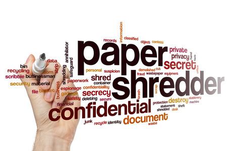 paper shredder: Paper shredder word cloud concept Stock Photo