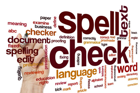 spell: Spell check concept word cloud background
