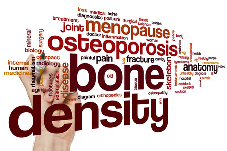 bone fracture: Bone density word cloud concept Stock Photo