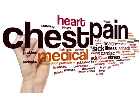 dolor de pecho: Dolor en el pecho concepto de nube de palabras