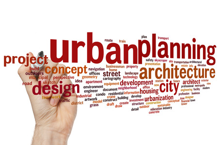 Urban planning concept word cloud background