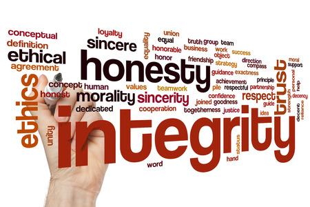 Integriteit word cloud concept met eerlijkheid vertrouwen gerelateerde tags