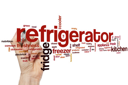 frig: Refrigerator word cloud concept with fridge freezer related tags