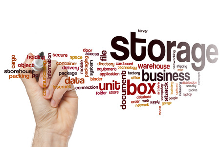Storage word cloud concept Stock Photo