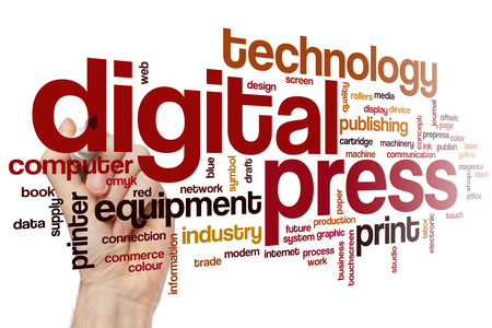 prints: Digital press word cloud concept