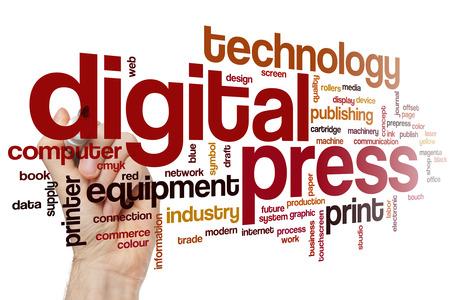estampado: Prensa digital concepto de nube de palabras
