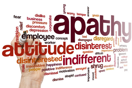 indifferent: Apathy word cloud concept with indifferent disinterest related tags