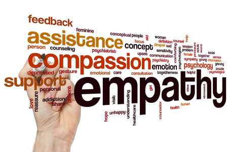 compassion: Empathy word cloud concept with compassion emotion related tags