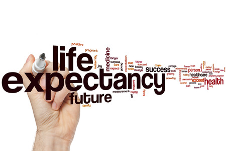 expectancy: Life expectancy word cloud concept Stock Photo