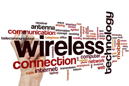 wireless connection: Wireless word cloud concept with technology connection related tags Stock Photo