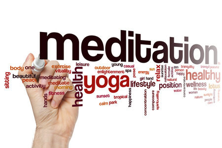 in meditation: Meditation word cloud concept with yoga relax related tags
