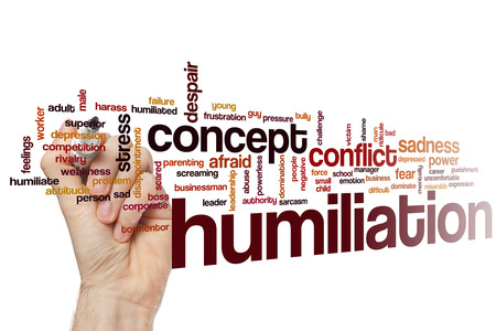 bad leadership: Humiliation word cloud concept with scared conflict related tags