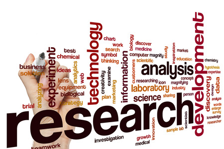 business words: Research word cloud concept with analysis technology related tags