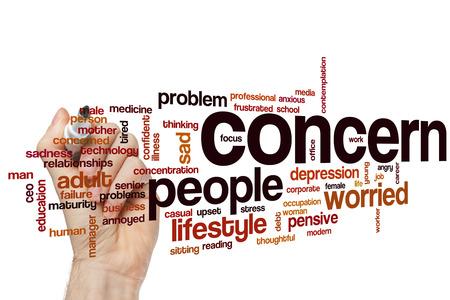 preocupacion: Preocupación concepto de nube de palabras con las etiquetas problemas tristes relacionados