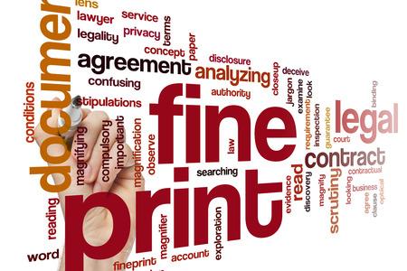 jargon: Fine print word cloud concept