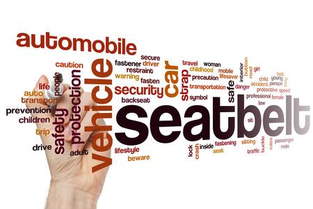 cinturon de seguridad: Cintur�n de seguridad concepto de nube de palabras con etiquetas relacionadas cintur�n del veh�culo