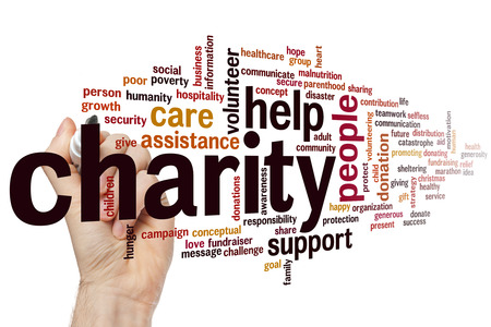 poverty relief: Charity concept word cloud background