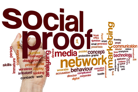 cynical: Social proof word cloud concept with network media related tags Stock Photo