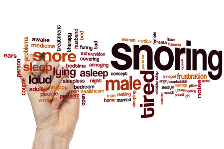 snoring: Snoring word cloud concept with sleep noise related tags