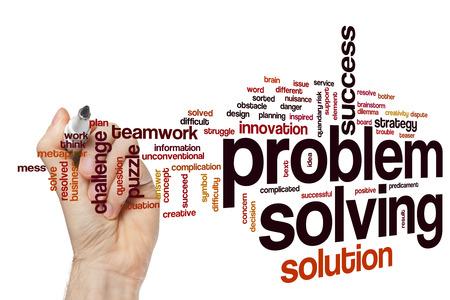solucion de problemas: La resolución de problemas palabra concepto nube Foto de archivo