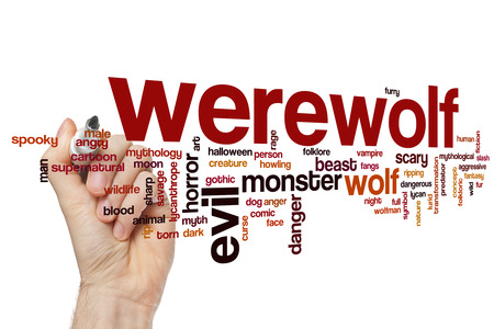 lurid: Werewolf word cloud concept with wolf monster related tags