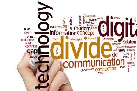 divides: Concepto de brecha digital nube de palabras de fondo Foto de archivo