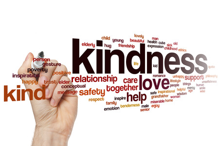 kindness: Kindness word cloud concept with love help related tags