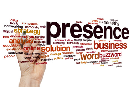 online internet presence: Presence concept word cloud background Stock Photo