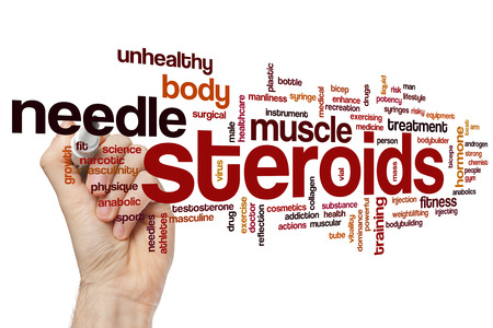 hormone  male: Steroids word cloud concept Stock Photo