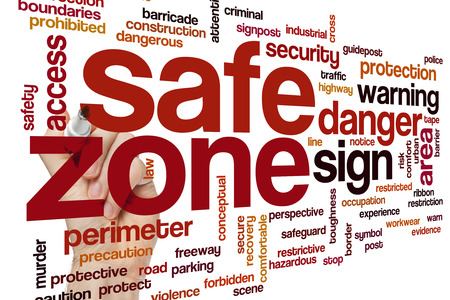 tape line: Safe zone concept word cloud background