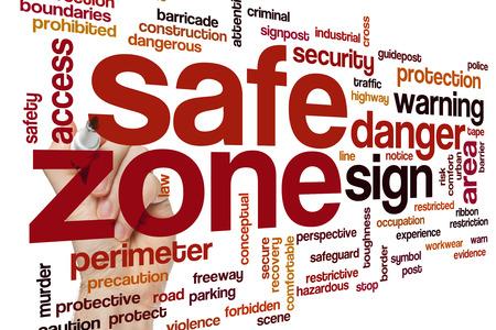 crime scene tape: Safe zone concept word cloud background