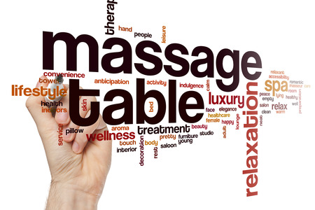 relaxant: Massage table word cloud concept with relaxation luxury related tags