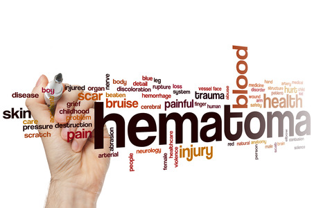 hematoma: Hematoma word cloud concept with blood injury related tags Stock Photo