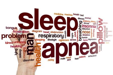Schlaf-Apnoe-Word Wolke Konzept mit Schlafstörungen Schnarchen verwandte Tags Standard-Bild - 42054308