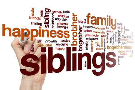 siblings: Siblings word cloud concept Stock Photo