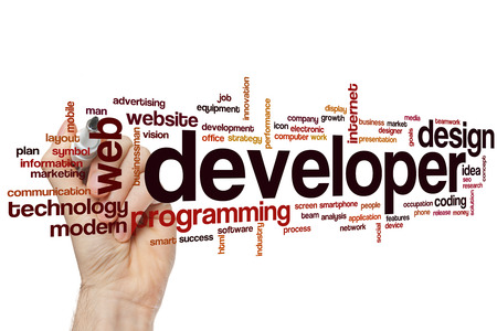 web developer: Developer word cloud concept Stock Photo
